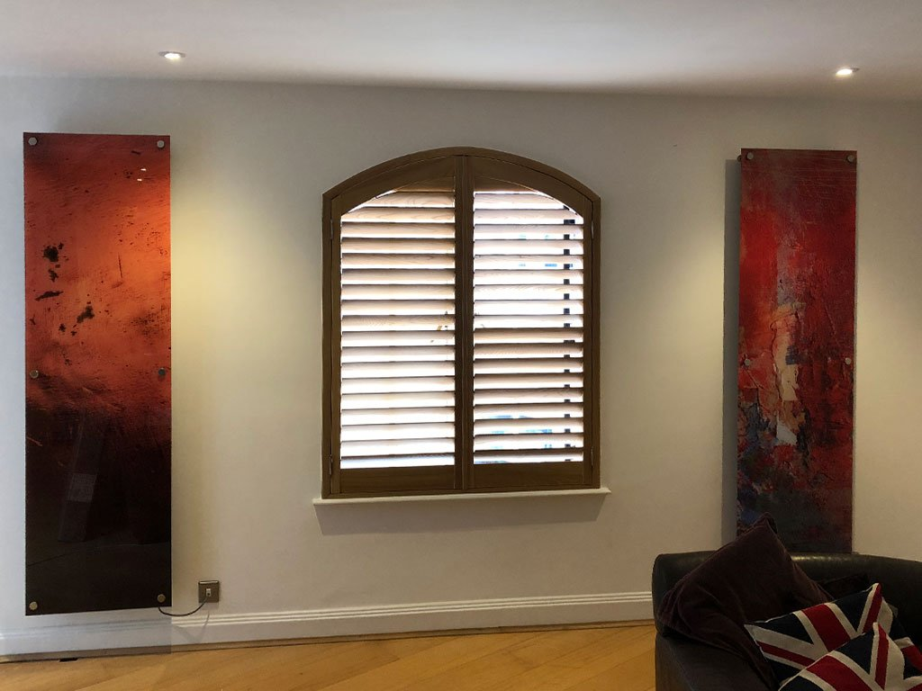 Shutters can be created for any size and shape of window. Produced in wood colours that compliment art pieces and style of the room.