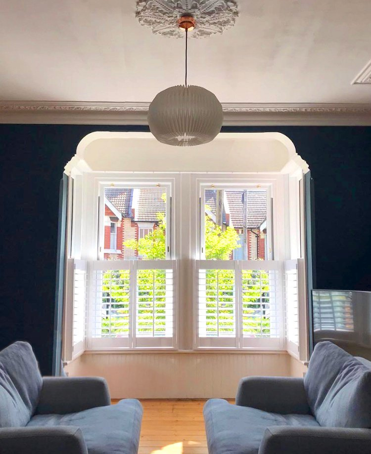 The light and shadow patterns created by shutters add drama in any location.